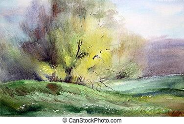 tableau aquarelle, paysage