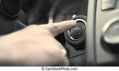tableau bord, grand, bouton marche, noir, poussées, moteur, personne