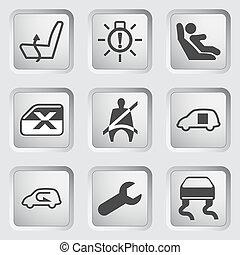tableau bord, icônes, ensemble, 5