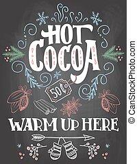 tableau, chaud, signe, fond, cacao