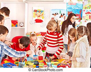 tableau enfant, à, art, school.