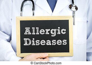 tableau, message, allergique, maladies, docteur