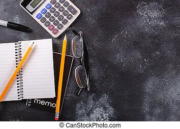 tableau noir, école, accessoires, fond