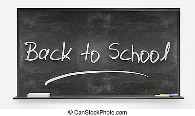 tableau noir, école, dos, écrit