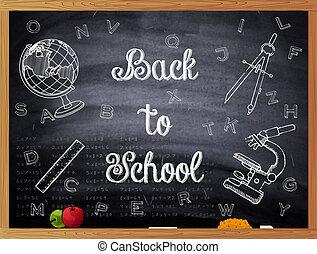 tableau noir, école, dos