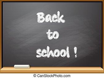 tableau noir, école, dos, texte