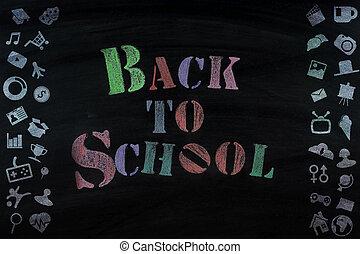 """tableau noir, école, """", message, dos"""