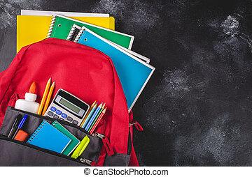 tableau noir, école, sac à dos, fond, fournitures