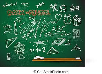 tableau noir, école, vecteur, illustration