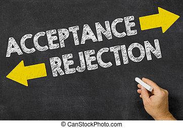tableau noir, écrit, acceptation, rejet, ou