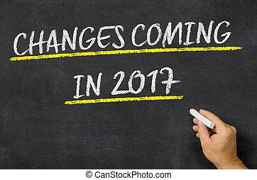 tableau noir, écrit, changements, 2017, venir