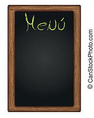tableau noir, écrit, vecteur, menu