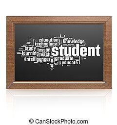 tableau noir, étudiant, vide