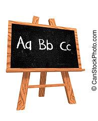 tableau noir, abc, -, écrit main