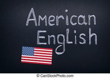 tableau noir, américain, anglaise, dessin, main