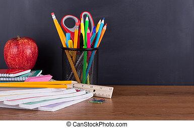 tableau noir, approvisionnements école, fond, bureau