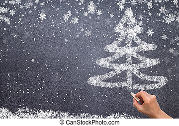 tableau noir, arbre, noël, dessin