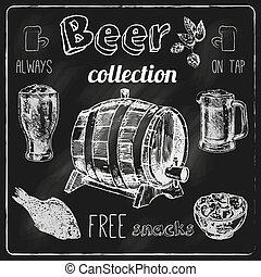 tableau noir, bière, ensemble, icônes