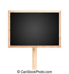 tableau noir, bois, étiquette, isolé, blanc, fond