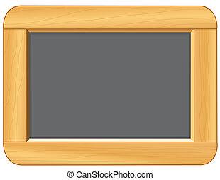 tableau noir, cadre, bois
