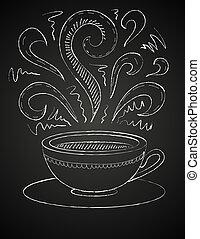 tableau noir, café, dessin, tasse
