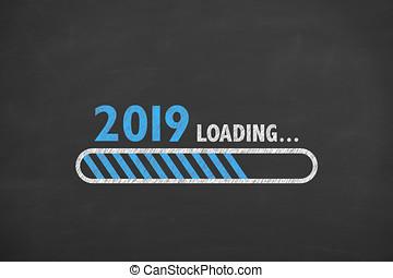 tableau noir, chargement, 2019, nouvel an