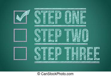 tableau noir, checkmark, étapes