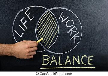 tableau noir, concept, équilibre, work-life