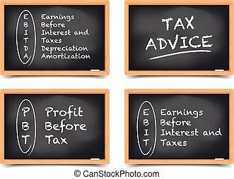 tableau noir, concept, impôts