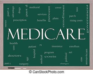 tableau noir, concept, mot, assurance-maladie, nuage