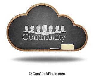 tableau noir, concept, mot, nuage, communauté
