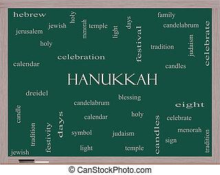 tableau noir, concept, mot, nuage, hanukkah