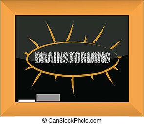 tableau noir, conception, illustration, brain-storming