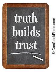 tableau noir, confiance, constructions, vérité, signe