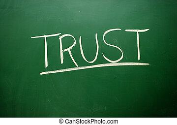 tableau noir, confiance, craie, manuscrit, mot, blanc