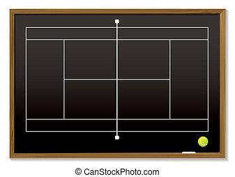tableau noir, court tennis