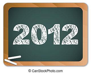tableau noir, craie, écrit, année, nouveau, 2012