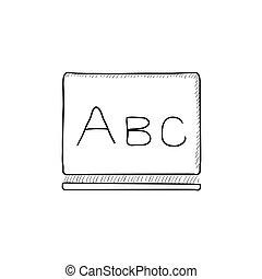 tableau noir, croquis, abc, lettres, icon.