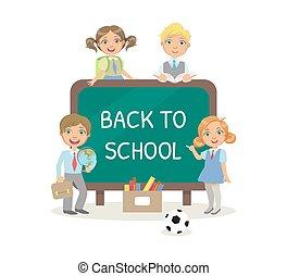 tableau noir, dessin, craie, mignon, illustration, texte, école, bannière, gosses, uniforme, vecteur, dos, gabarit