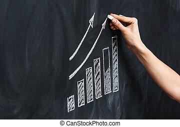 tableau noir, dessin, diagramme croissance, main