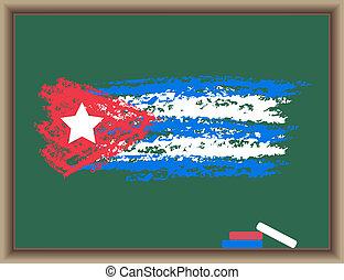 tableau noir, drapeau, cuba