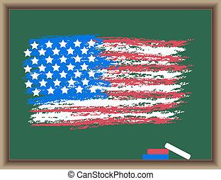 tableau noir, drapeau, usa