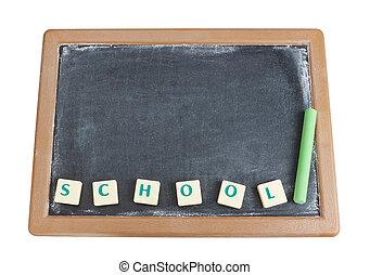 tableau noir, et, craie, pour, les, mot écrit, school.