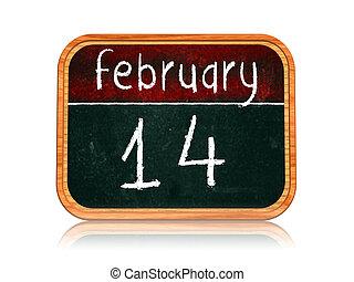 tableau noir, février, bannière, 14