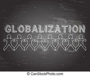 tableau noir, globalisation, gens