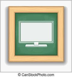 tableau noir, icône ordinateur