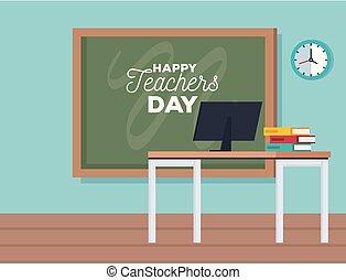 tableau noir, informatique, jour, célébration, prof