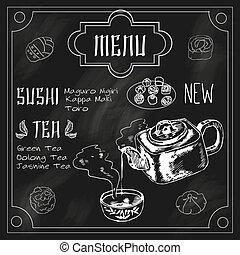 tableau noir, japonaise, théière, tasse