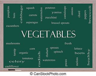 tableau noir, légumes, concept, mot, nuage