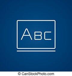 tableau noir, ligne, abc, lettres, icon.